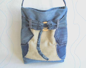 UPCYCLING Crossbody Jeans BAG blue / Jeans shoulder bag blue / Jeans bag blue