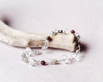 Delicate wire wrapped gemstone bracelet, Crystal quartz, garnet, labradorite, Feminine beaded bracelet, semi precious stones, Gift for her