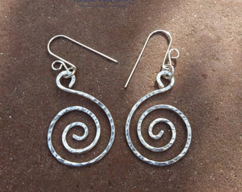 Spiral Earrings Sterling Silver Handcrafted Dangle Drop Earrings One Of A Kind Boho Artisan Jewelry