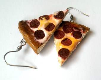 Miniature Pizza Earrings Food Jewelry, Miniature Food Earrings