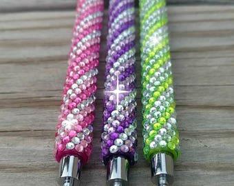 Diamond ball point pen, fancy ball point pen,  stationary diary planner gift, pink green purple, Diamond pen, planner accessories, pen gift