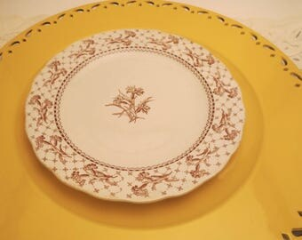 Brownfield & Sons Harvard Brown Transferware Collector's Plate - Antique Plate - 1800's - Brown Floral Toile Plate - Scalloped Plate