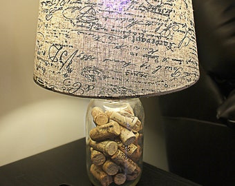Vintage cork lamp etsy for Wine cork lampshade