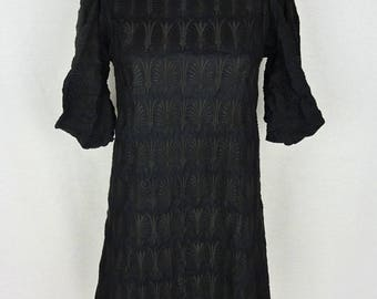 Embroidered black dress MARNI - vintage dress - 1990s - size 38 (Size S/M)