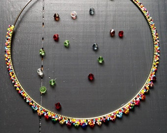 Ras necklace of multicolored neck / Miyuki glass and Swarovski Crystal