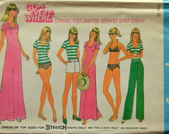 Uncut 1970s Simplicity Vintage Sewing Pattern 7526, Size 16; Misses' Pullover Dress or Top, Pants or Shorts and Bikini