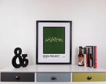 Eden Project Print, Cornwall Minimalist Travel Poster