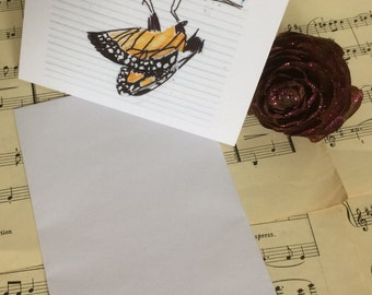 Set of 5 x designer cards and envelopes, for any occasion cards. Beautifuly hand designed Monarch butterfly blank cards & envelope.