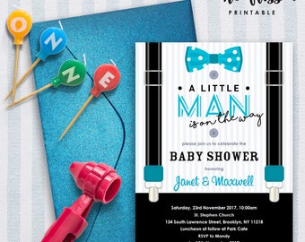 Little Man Baby Shower Invitation | 5x7 | Editable PDF | Instant Download | Personalize with Adobe Reader