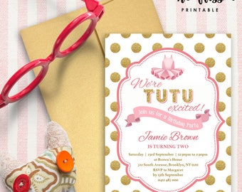 TuTu Baby Shower Invitation | Gold Glitter and Pink | 5x7 | Editable PDF File | Instant Download | Personalize at home with Adobe Reader