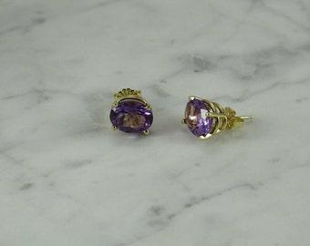 14K Gold / Amethyst Earrings (pierced)