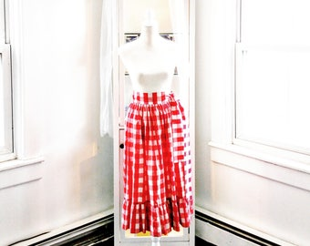 Vintage 50's Red Gingham Skirt