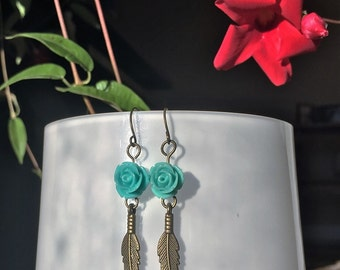 Turquoise resin rose feather drop earrings