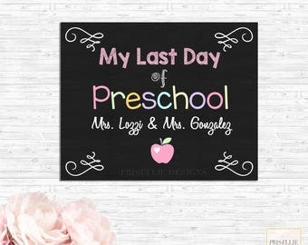 First Day of School Sign, My First Day of Preschool Kindergarten 1st 2nd 3rd Grade Personalized School Printable Sign
