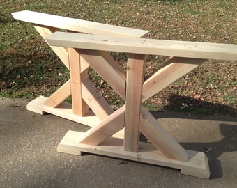 Trestle table etsy for Farmhouse table plans with x legs