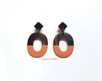 Chic buffalo horn earrings, Lacquering in Vibrant Orange color [EA-024]