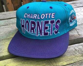 Vintage Charlotte Hornets Snapback - Charlotte Hornets Hat - 90s Hornets Snapback - 90s Hat - 90s Snapback - 90s Charlotte Hornets Snapback