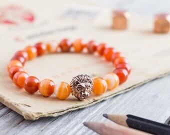 Orange agate stone beaded rose gold Lion head stretchy bracelet, yoga bracelet, mens bracelet, womens bracelet