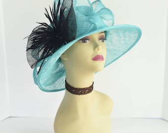 """Turquoise/Black Newest Kentucky Derby, Church, Wedding, Carriage, Tea Party 4 1/4"""" with feather flower Sinamay Hat Medium Brim"""