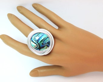 Abalone Jewelry, Abalone Silver Ring, Adjustable Silver Ring, Green And Blue Ring, Green And Blue Silver Ring, Unique Wire Silver Ring,