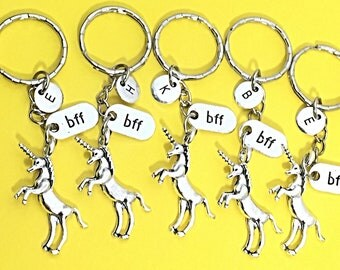 Custom Best friends keychain - set of five, bff charm, 5 bff keychain, set of 5 best friend,BFF keychain,monogram,initial keychain, bff gift