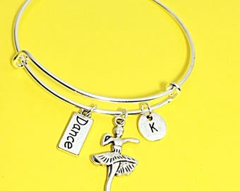 Dance charm bracelet, dancer bangle,  ballet dance pendant, ballerina charm, personalized, custom, initial,initial charm, dance, salsa, gift