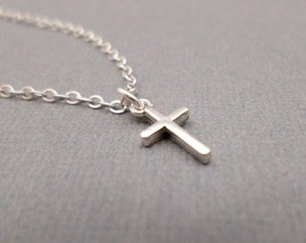 Silver Cross Necklace, Tiny. Free Shipping. Sterling Silver Pendant. Simple Minimal. Dainty Delicate Christian Faith. Gift For Her 3/8""