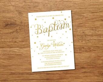 Baptism Invitation, Baptism Invitation Girl, Baptism Invitation Boy, Baptism Invitation Printable,Christening, White & Gold/Glitter/Confetti