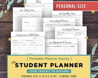 PERSONAL inserts: College Student Planner, Project Planner, 3.7x6.7 High School, Assignment Planner, Filofax Printable Kikki K, Academic PDF