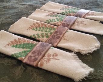 Unique hand stamped fabric napkins