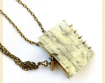 Padlock book necklace, Diary book pendant, Mini diary necklace, Mini spiral book necklace, long chain book pendant, Mother's day gift