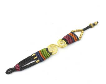 Spiral Macrame Bracelet, Braided Bracelet, Friendship, Rave, EDM, Ethnic, Tribal, Boho, Bohemian, Gypsy, Beach, Festival Jewelry, Casual