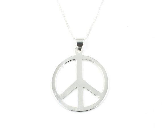 Sterling Silver Peace Sign Necklace, Large, Organic, Yoga Jewelry, Meditation, Spiritual, Boho, Bohemian, Gypsy, Festival, Hippie