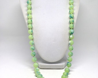 Fascinating Vintage Estate Two Tone Green Frosted Beaded Necklace