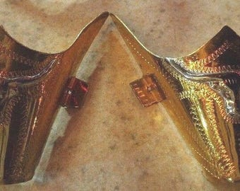 Western Texas longhorn gold and silver plated toe cowboy boot tips