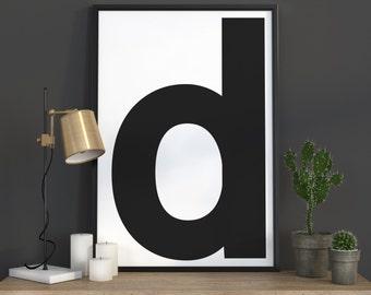 d Letter Print, Initial Wall Art, Scandinavian Art, Scandinavian Poster, Initial Poster d Letter Poster, d Letter Print, INSTANT DOWNLOAD