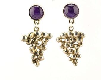Amethyst earrings ith sterling silver grapevine pattern