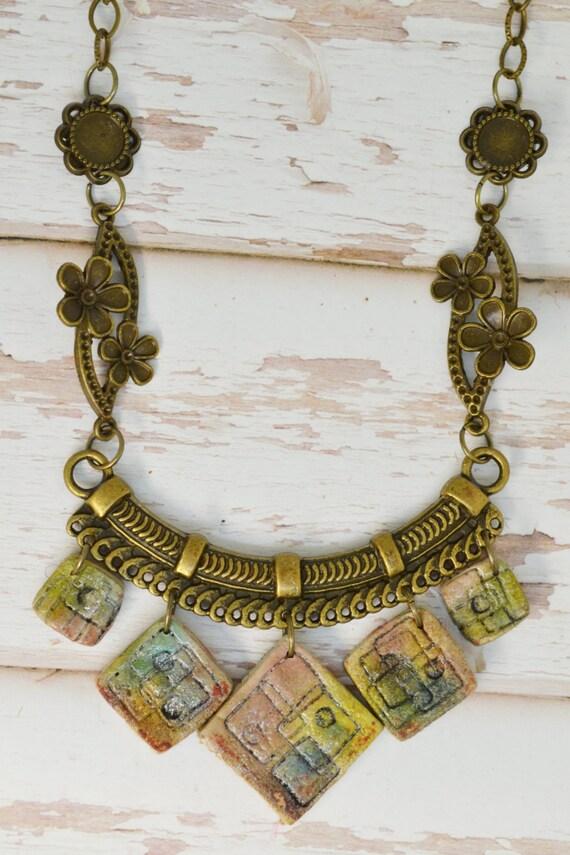 Boho charms polymer clay jewelry miniature art minimalist for Minimal art jewelry