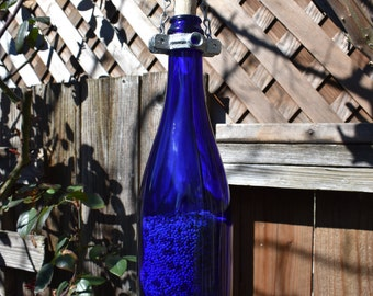 Wine Bottle Bird Feeder, Blue Wine Bottle Bird Feeder, Glass Wine Bottle Bird Feeder, Bird Houses, Outdoor, Patio, Handmade Wine Bottle