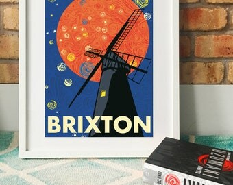 The Brixton Windmill. Illustrated Art print poster. Matte and Giclee Art Prints in A3 A2 sizes. Wall Art, home decor. Prints of London