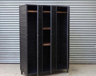 Vintage industrial three door steel locker wardrobe