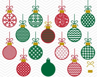 Christmas Balls Patterned Ornaments Frames DXF SVG PNG eps Winter Holidays Cut File for Cricut Design, Silhouette studio, Sure A Lot, Makes