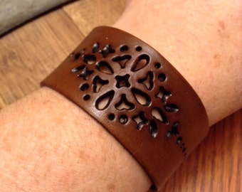 Leather Cuff; Leather Bracelet; Punched Leather Cuff; Punched Leather Bracelet; Mandala Bracelet; Mandala Cuff; Gift for Her