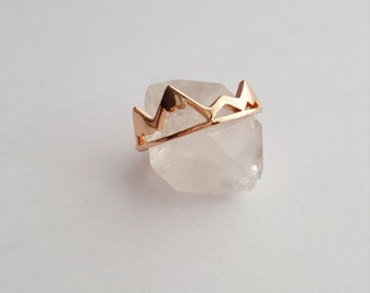 Rose Gold Mountain Ring | Mountain Jewelry | Nature Jewelry | Dainty Mountain Ring | Snowy Mountain Top | Hiking Ring | Adventure Ring