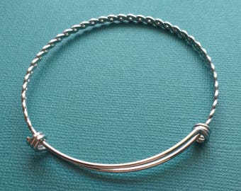 Woven Adjustable Charm Bangle Bracelet Stainless Steel 65mm - SSB4013