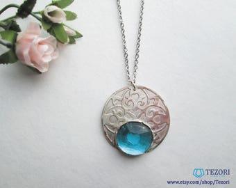 blue sea glass open work pendant necklace