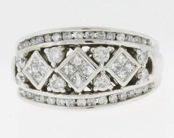 1.0 ct  Diamond Dome Ring - 14k White Gold Diamond Ring - Thick Diamond Band