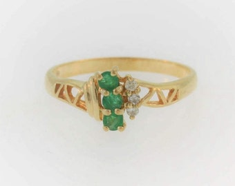 Antique Emerald Diamond Ring in 10k Yellow Gold