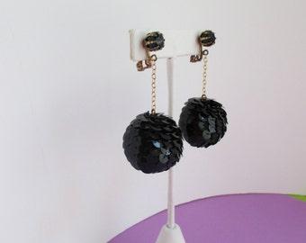 Mod Earrings - Orbs with Black Sequins - Go Go Style Vintage
