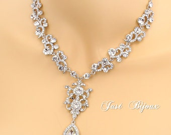 Wedding Necklace Rhinestone Crystal Necklace Bridal Necklace Wedding Jewelry bride necklace Wedding Accessory Bridal Jewelry Mix